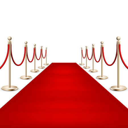 Illustration pour Realistic Red carpet between rope barriers. EPS 10 - image libre de droit