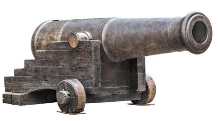 Foto de Heavy cast iron fortification smoothbore Carronade, mounted on Garrison Carriage, isolated on white background. - Imagen libre de derechos