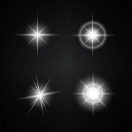 Ilustración de Vector Set of Different White Lights. Different Stars Collection. Star Lights - Imagen libre de derechos