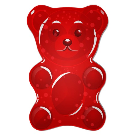 Illustration pour Red gummy bear candy isolated on white background - image libre de droit
