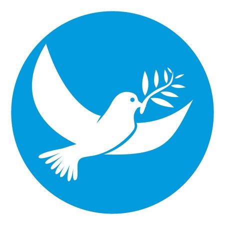 Ilustración de Dove of white color symbol of peace isolated in circle - Imagen libre de derechos