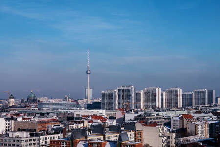 view on berlin in winter with blue sky