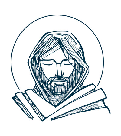 Illustration pour Hand drawn vector illustration or drawing of Jesus Christ Face - image libre de droit