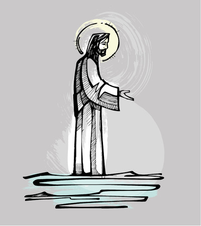 Illustration pour Hand drawn vector illustration or drawing of Jesus Christ walking on the water offering an open hand - image libre de droit