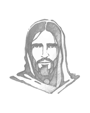 Illustration pour Hand drawn vector illustration or drawing ofHand drawn vector illustration or drawing of Jesus Christ Face - image libre de droit