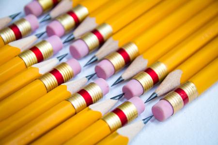 Photo pour Detail photograph of some wood yellow pencils - image libre de droit
