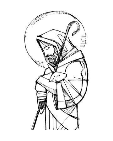 Illustration for Vector illustration or drawing of Jesus Christ Good Shepherd - Royalty Free Image