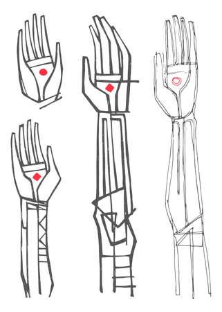 Ilustración de Hand drawn vector illustration or drawing of Jesus Christ hands and arms - Imagen libre de derechos
