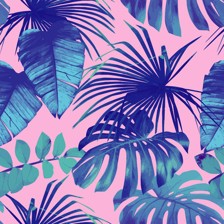 Foto de Summer exotic floral tropical palm, banana leaves in blue style. Pattern seamless on the pink background. Plant flower nature wallpaper - Imagen libre de derechos