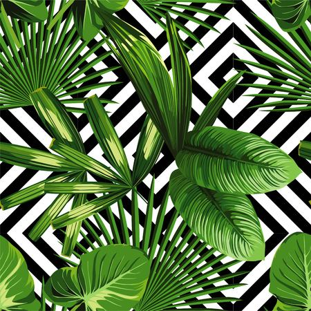 Ilustración de Print summer exotic jungle plant tropical palm leaves. Pattern, seamless floral on the black white geometric background. Nature wallpaper. - Imagen libre de derechos