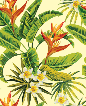 Illustration pour Tropical exotic plumeria flowers with green leaves of palm on a yellow background. Seamless pattern. fashion vintage summer wallpaper - image libre de droit