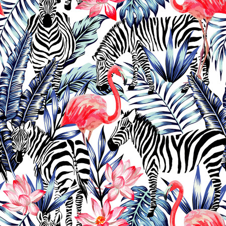 Illustration pour Exotic pink flamingo, zebra on background summer blue tropic palm leaf. Watercolor floral print wallpaper.Stripe fashion nature painting - image libre de droit