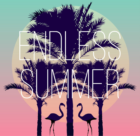 Illustration pour Silhouette tropic birds flamingos and a banana palm tree in the background paradise sunset vacation sea beach. The artwork in trendy style of the mirror. slogan endless summer. - image libre de droit