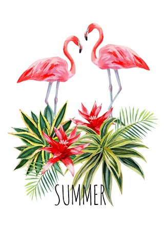 Ilustración de Exotic tropic bird pink flamingo with palm leaves and plant flower agave hand drawn watercolor. Print trendy flower vector illustration poster with the slogan summer - Imagen libre de derechos