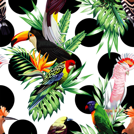 Ilustración de Exotic birds with tropical plants on a white background with black circle - Imagen libre de derechos
