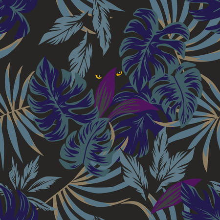 Illustration for Nightlife jungle rainforest tropical leaves seamless pattern with eyes panther in the middle in the night sky - Royalty Free Image