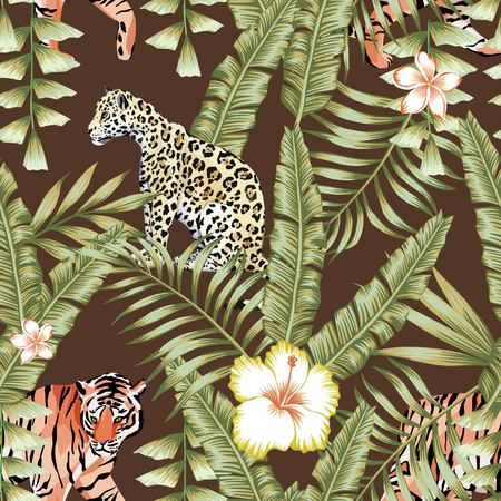 Illustration pour Composition of tropical leaf beautiful flower hibiscus, frangipani wild animals leopard and tiger. Seamless wallpaper pattern on a brown background - image libre de droit