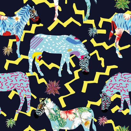 Illustration pour Composition of abstract jungle animal zebra with plants on a dark blue background with yellow zigzag lines. Unreal beautiful seamless pattern tropical vector wallpaper - image libre de droit