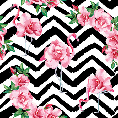 Illustration for Beach image of a wallpaper with a beautiful tropic pink flamingo and rose flowers. Seamless vector composition on black and white zigzag background - Royalty Free Image
