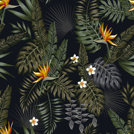 Ilustración de Tropical leaves and flowers in the night style for men's prints. Seamless vector jungle wallpaper pattern black background - Imagen libre de derechos