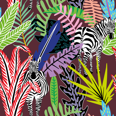 Illustration pour Wild animal zebra in the jungle in colorful abstract cartoon style on the burgundy background. Tropical leaves seamless vector pattern of beach wallpaper - image libre de droit