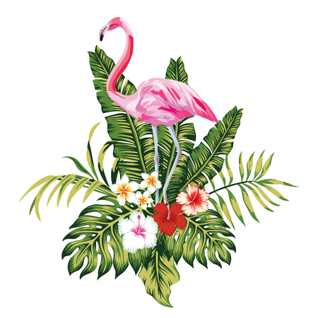 Illustration pour Exotic birds pink flamingo, tropical palm leaves and flowers, jungle beach seamless vector floral pattern wallpaper white background - image libre de droit