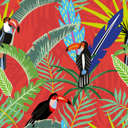 Illustration pour Tropical bird toucan in the jungle on a background of palm leaves in cartoon style. Beach wallpaper seamless pattern on a red orange background - image libre de droit
