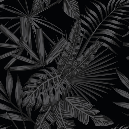 Ilustración de Tropical leaves seamless pattern in black and white style - Imagen libre de derechos