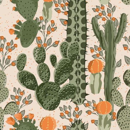 Photo for Green vector succulent cactus and orange flowers seamless pattern. Beach wallpaper. Cream background - Royalty Free Image