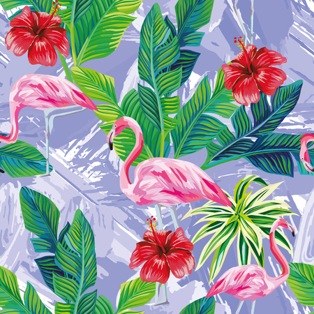 Illustration for Seamless composition of tropical bird pink flamingo and palm leaves with red hibiscus flowers on background in one blue color painted with a brush - Royalty Free Image