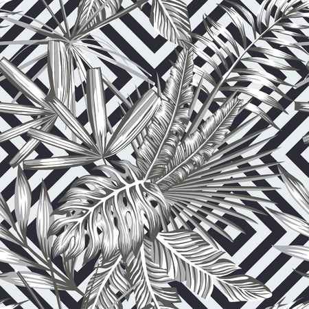 Illustration for Tropical leaves seamless pattern in black and white style. Beach wallpaper geometric background - Royalty Free Image