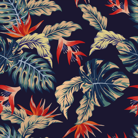 Ilustración de Night tropical jungle print seamless pattern leaves and flowers on the dark blue background - Imagen libre de derechos
