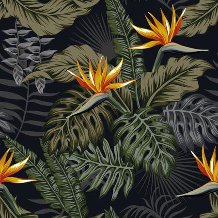 Ilustración de Night jungle tropical seamless pattern plants and flowers. Dark vector wallpaper - Imagen libre de derechos