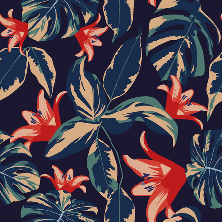 Ilustración de Exotic flowers and leaves seamless tropical design floral vector dark blue background - Imagen libre de derechos