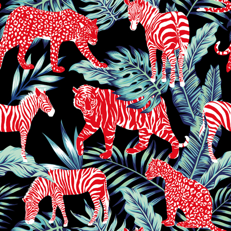 Ilustración de Red wild animal in the jungle on the dark night - Imagen libre de derechos