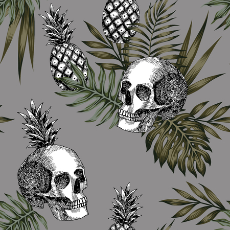 Ilustración de Composition of hand drawn skull pineapple and tropical leaves pattern seamless - Imagen libre de derechos