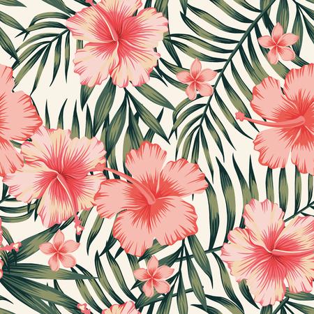 Illustration pour Tropical flower with palm leaves seamless pattern - image libre de droit