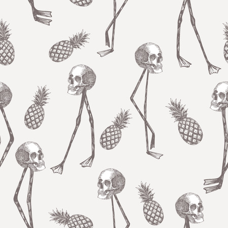Ilustración de Abstract cartoon skull on flamingo legs with pineapple seamless pattern - Imagen libre de derechos