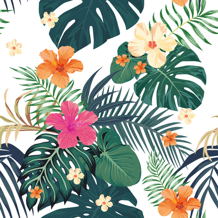Illustration for Exotic tropical leaves monstera palm and flowers hibiscus pattern vector seamless white background. Nature fresh beach wallpaper - Royalty Free Image