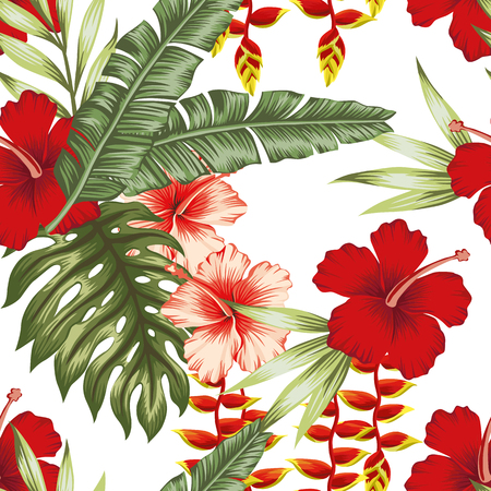 Illustration for Exotic flowers leaves pattern. - Royalty Free Image