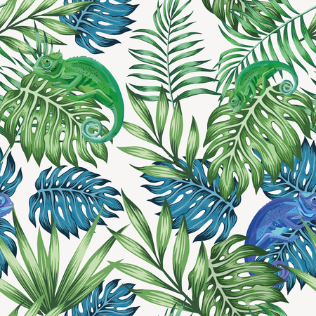 Illustration pour Nature chameleon exotic blue and green tropical leaves seamless pattern on the vector white background - image libre de droit