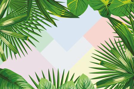 Illustration pour Exotic spring frame of tropical leaves on the geometrical pastel color background - image libre de droit