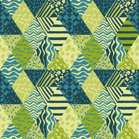 Ilustración de Trendy patchwork schematic abstract fabric seamless pattern trendy vector wallpaper. - Imagen libre de derechos