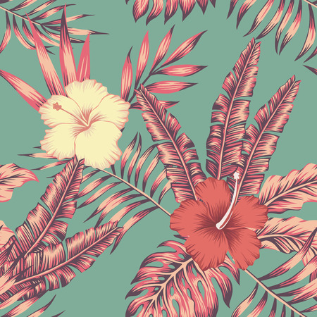 Illustration for Hibiscus flowers and leaves vintage color tropical vector seamless pattern composition. Flat beach party wallpaper - Royalty Free Image