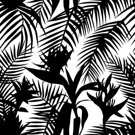 Ilustración de Black white silhouette vector floral pattern seamless tropical jungle. Exotic composition from leaves and flowers - Imagen libre de derechos