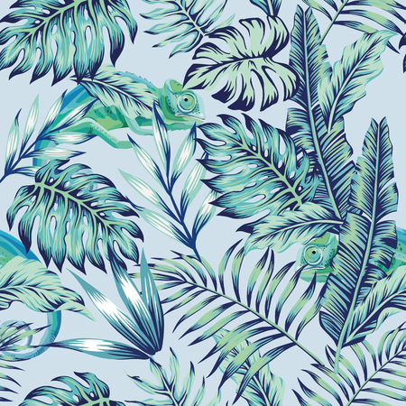 Illustration pour Exotic animal chameleon hiding in the  blue jungle on light background. Flat tropical seamless composition exotic tropical vector in vintage style - image libre de droit