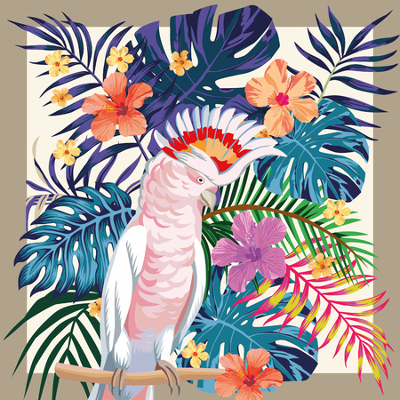 Photo pour Exotic bird parrot ara on the abstract color  tropical palm leaves and hibiscus flowers pattern frame - image libre de droit