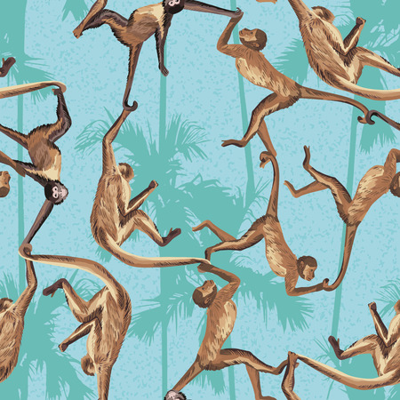 Illustration for Monkey in the jungle realistic seamless vector pattern. Palm trees background - Royalty Free Image