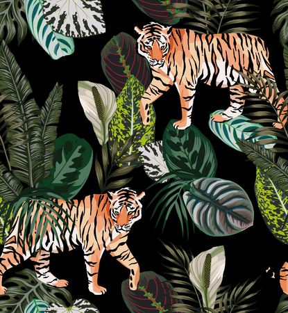 Illustration pour Going exotic animal tiger in the dark jungle pattern black background illustration seamless vector trendy composition beach wallpaper. - image libre de droit