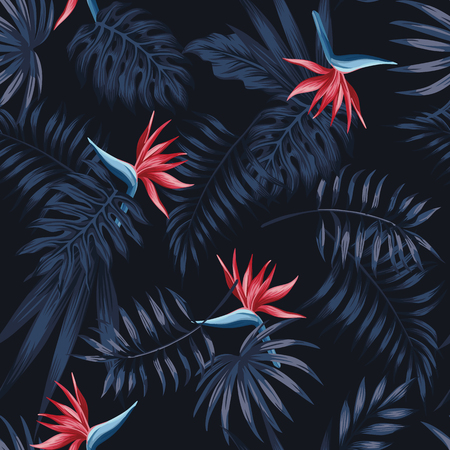 Illustration pour Exotic tropical flowers bird of paradise (strelitzia) red color blue palm leaves dark night jungle background seamless vector pattern beach illustration - image libre de droit